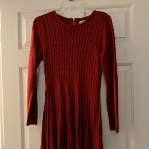 Long Sleeve Cable Knit Sweater Dress